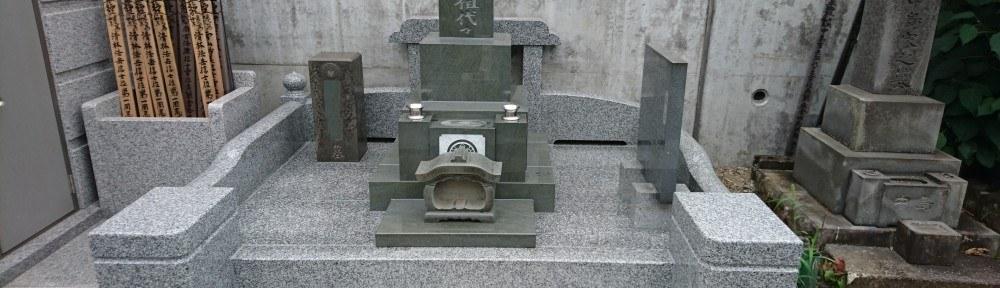 本小松石墓石 和型墓石9寸角 免震施工 工事風景