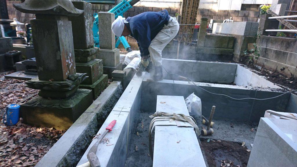 総本小松石 洋型墓石(特大)が完成。(基礎工事の様子 №2)10
