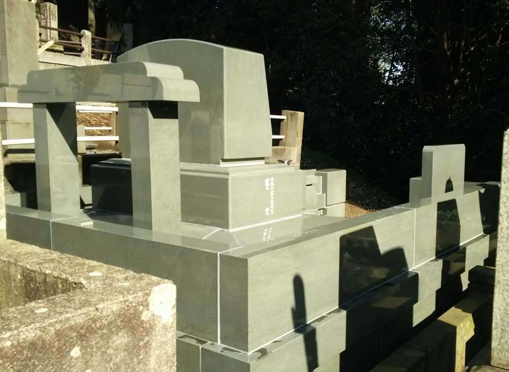 総本小松石 洋型墓石(特大)が完成。(基礎工事の様子 №2)7